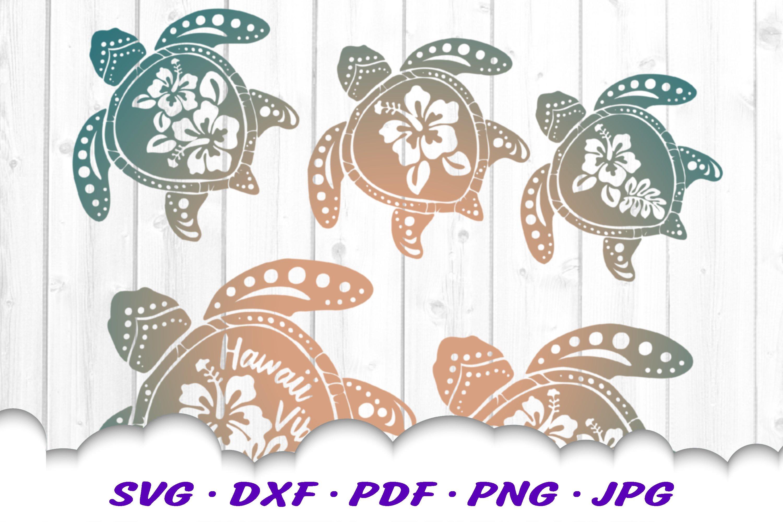 Hawaii Hibiscus Sea Turtle SVG DXF Cut Files Bundle example image 7