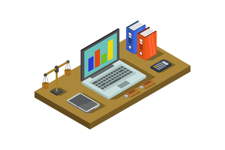 isometric office desk example image 1