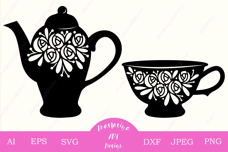 Floral Teapot And Cup Tea Time Set Kettle Rose Silhouette 557100 Cut Files Design Bundles