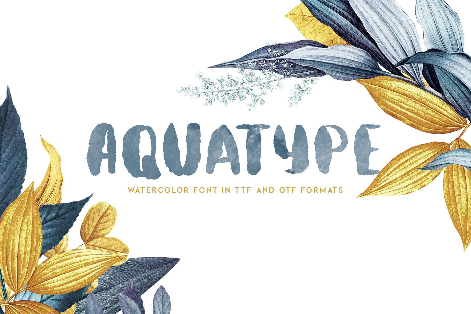 Aquatype. Display Watercolor font. example image 2