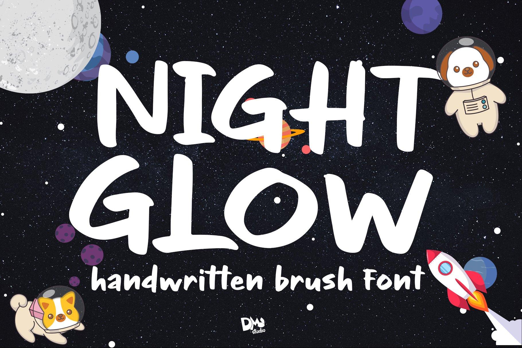 NIght Glow - Handwritten Font example image 1