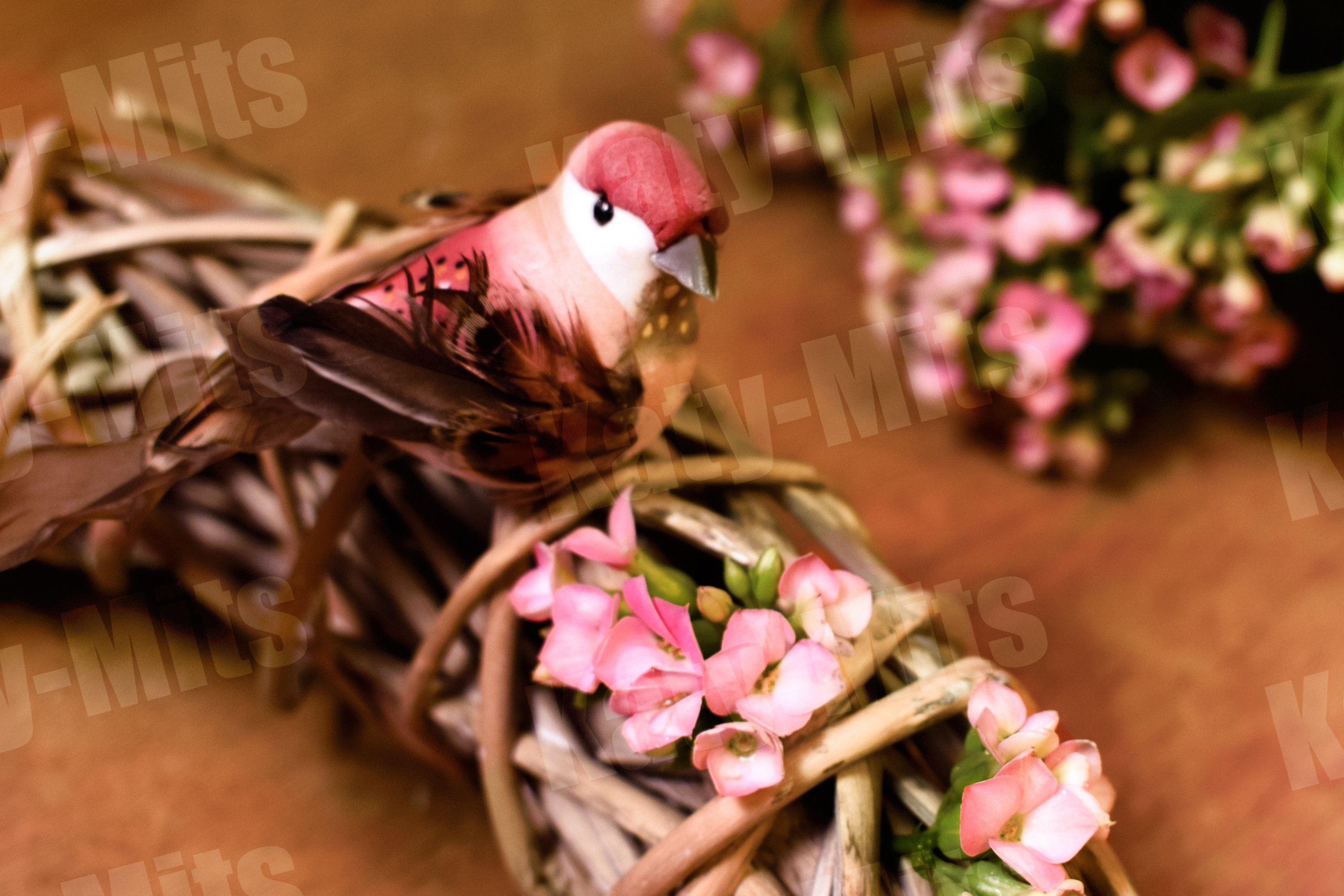 Decorative bird with braided wreath of twigs example image 1