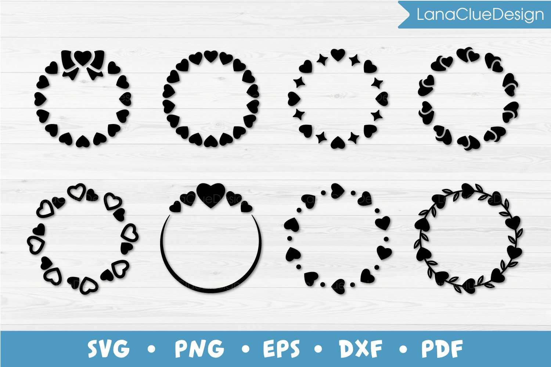 8 Circle Hearts Frames Svg Round Monogram Frames 725424 Cut Files Design Bundles