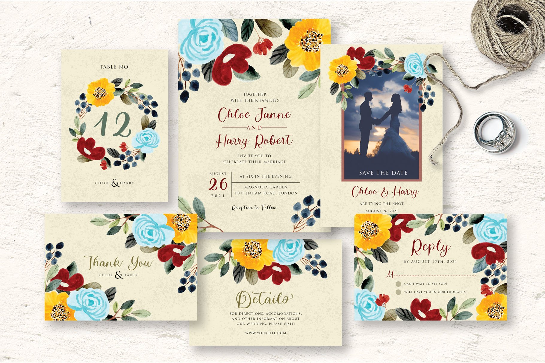 Beautiful Flower Wedding Invitation Set example image 1