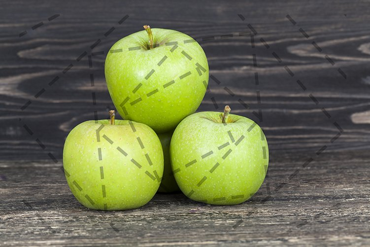 Green apple black table wall pile. example image 1