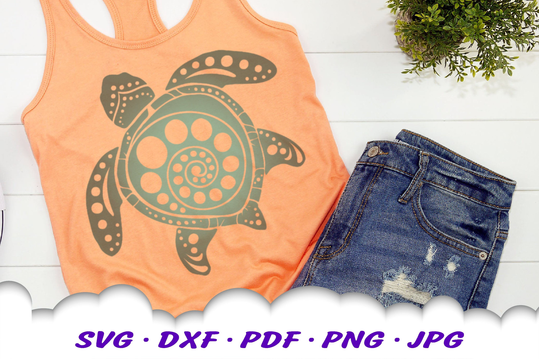 Spiral Circle Round Mandala Sea Turtle SVG DXF Cut Files example image 3
