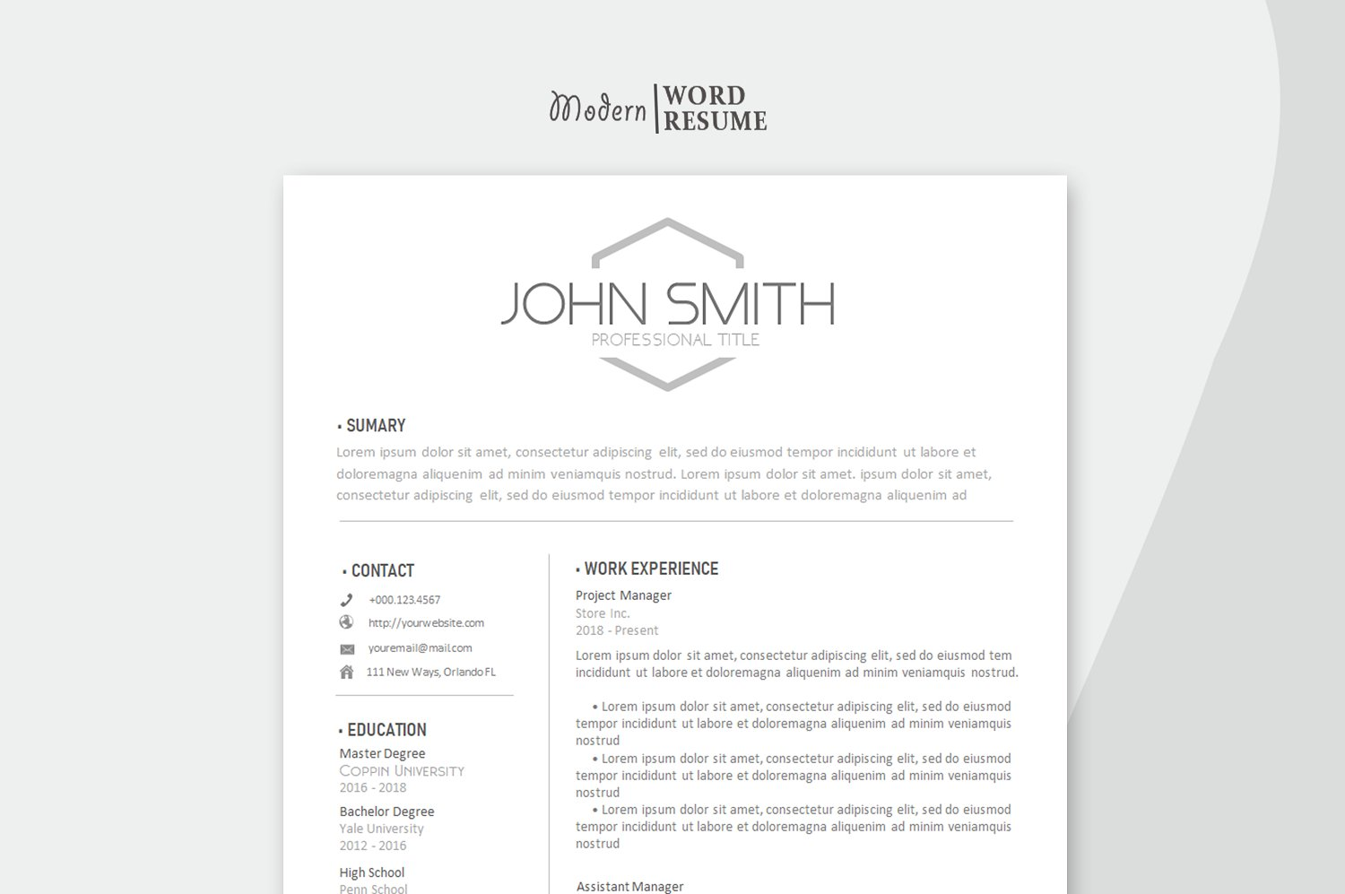 2 Page resume template Cover letter and Reference page ...
