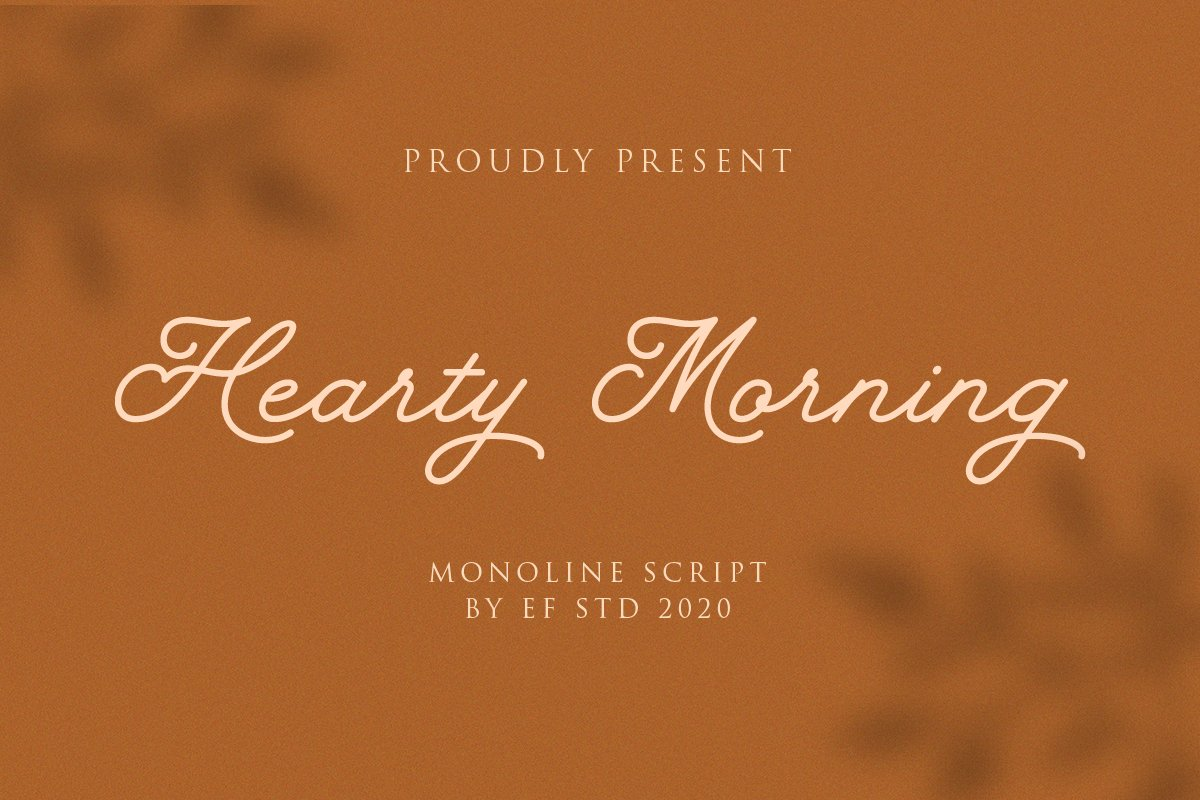 Hearty Morning - New Monoline Script example image 1