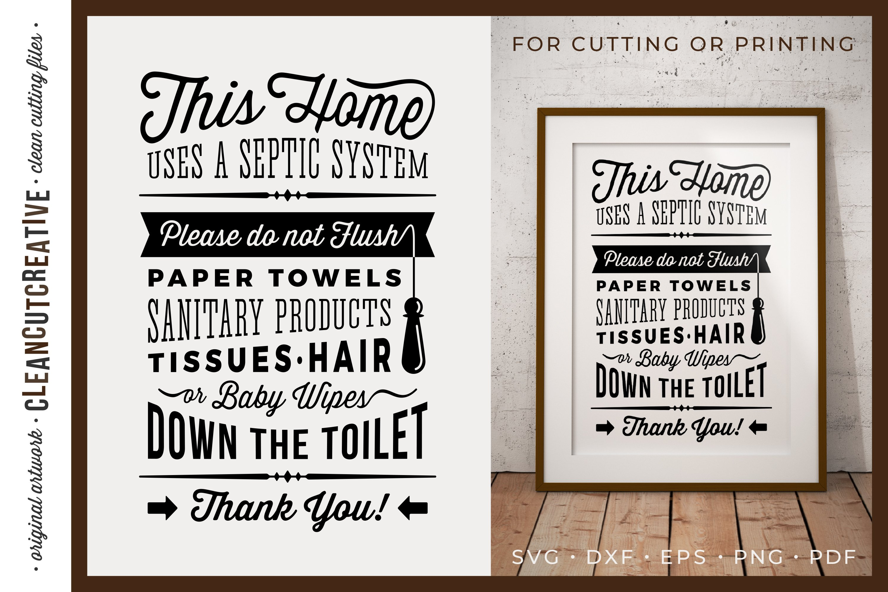 Bathroom Sign Septic System for cutting or printing SVG ...