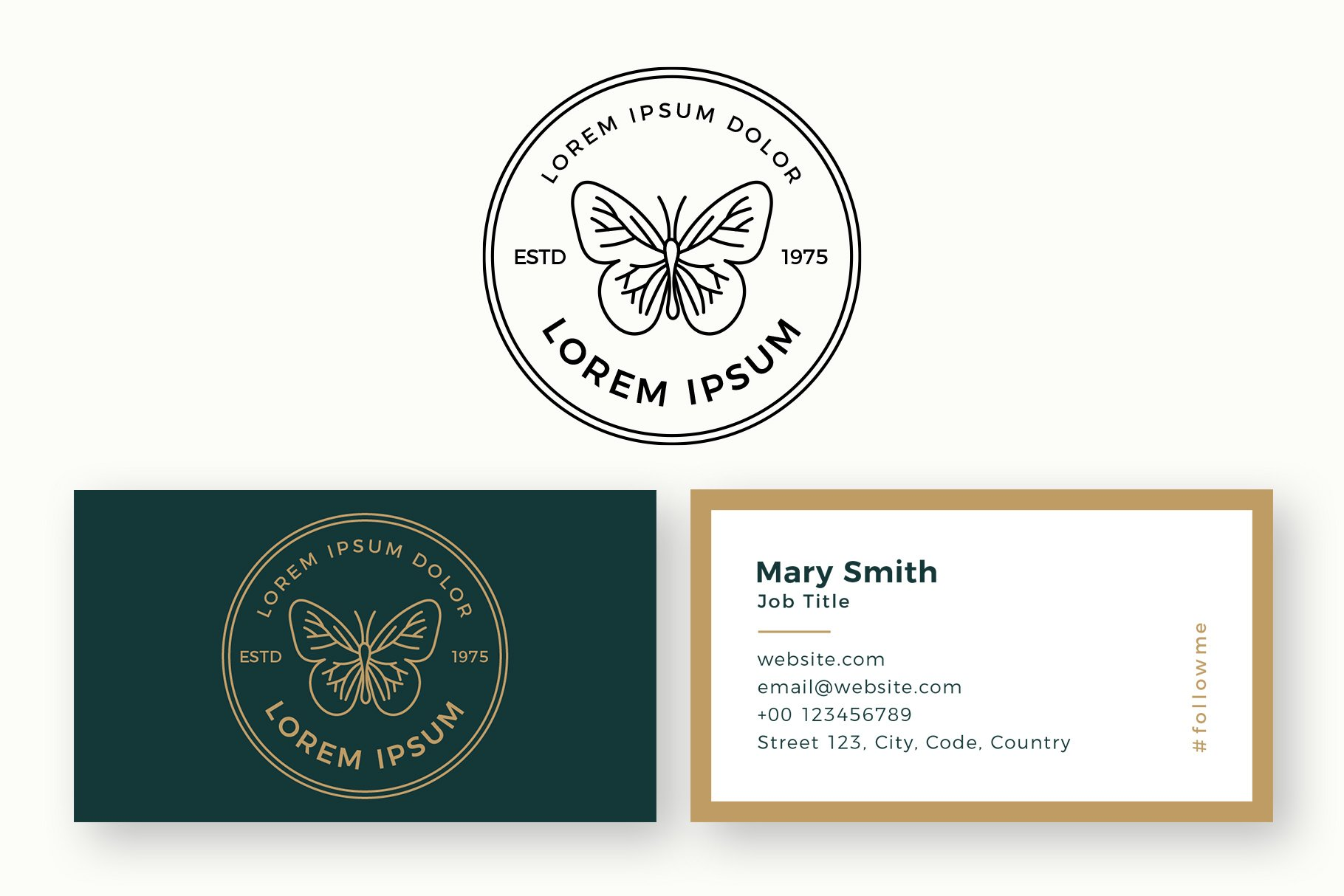 Butterfly Logo & Business Card Templates example image 1