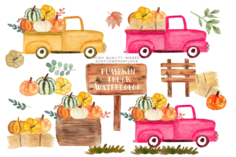 Download Pink Vintage Trucks Clipart Pumpkin Watercolor Fall Clipart 894313 Illustrations Design Bundles