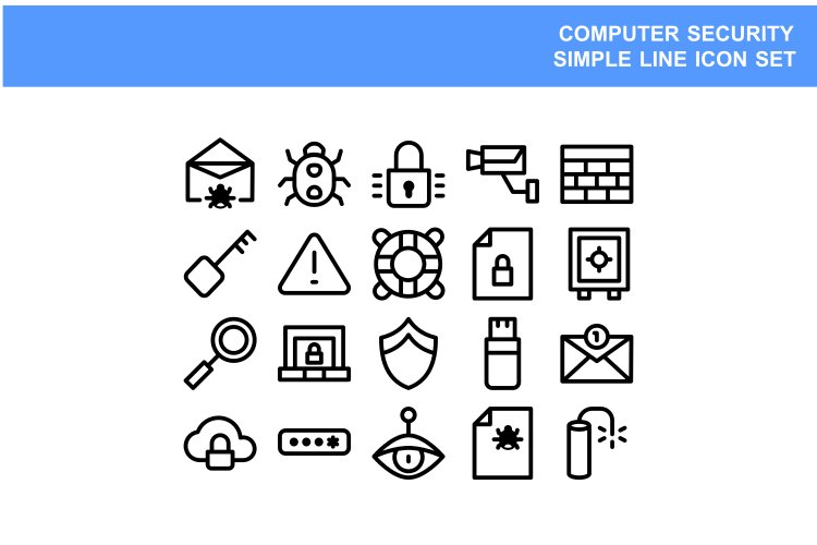 Simple set line icon computer security vector illustration example image 1