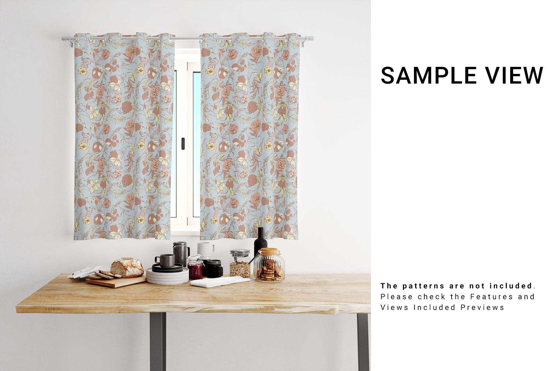 Kitchen Short Curtains Mockup Set example image 8