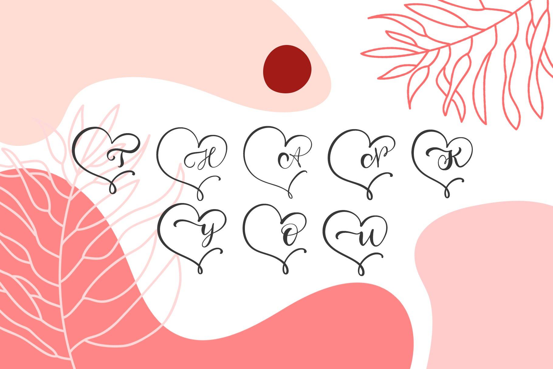 Monogram Heart Flourish Font example image 7