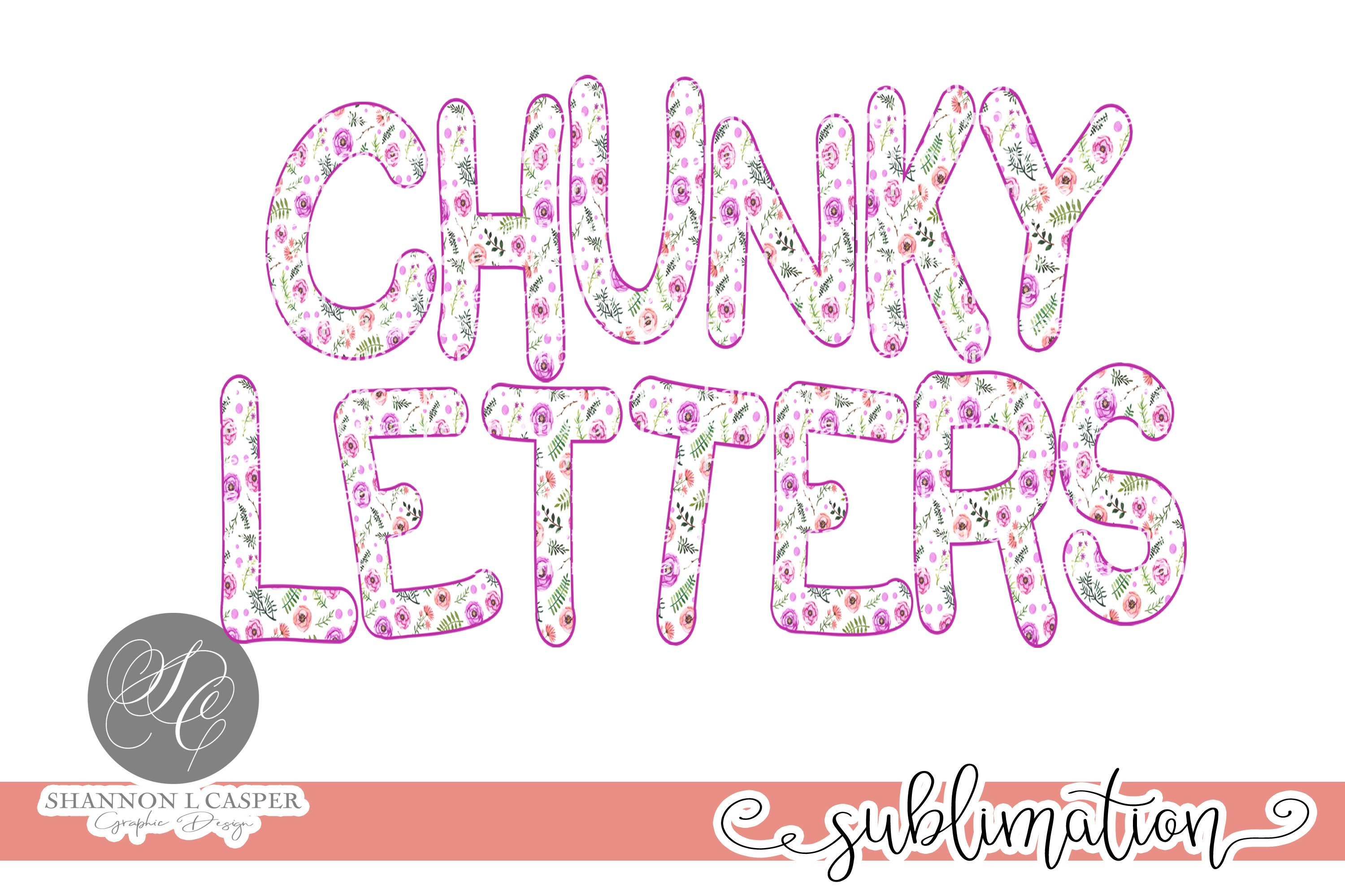 Purple Floral Chunky Font PNG example image 4