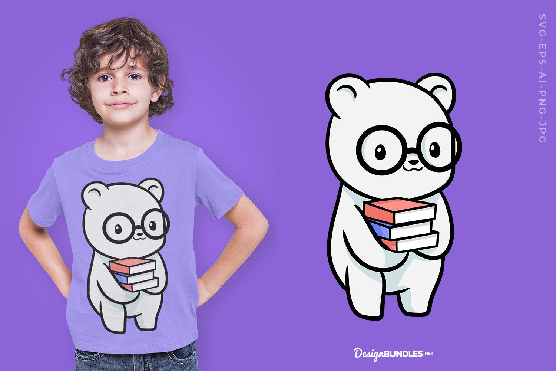 Cute bear holding books T-Shirt Design example image 1