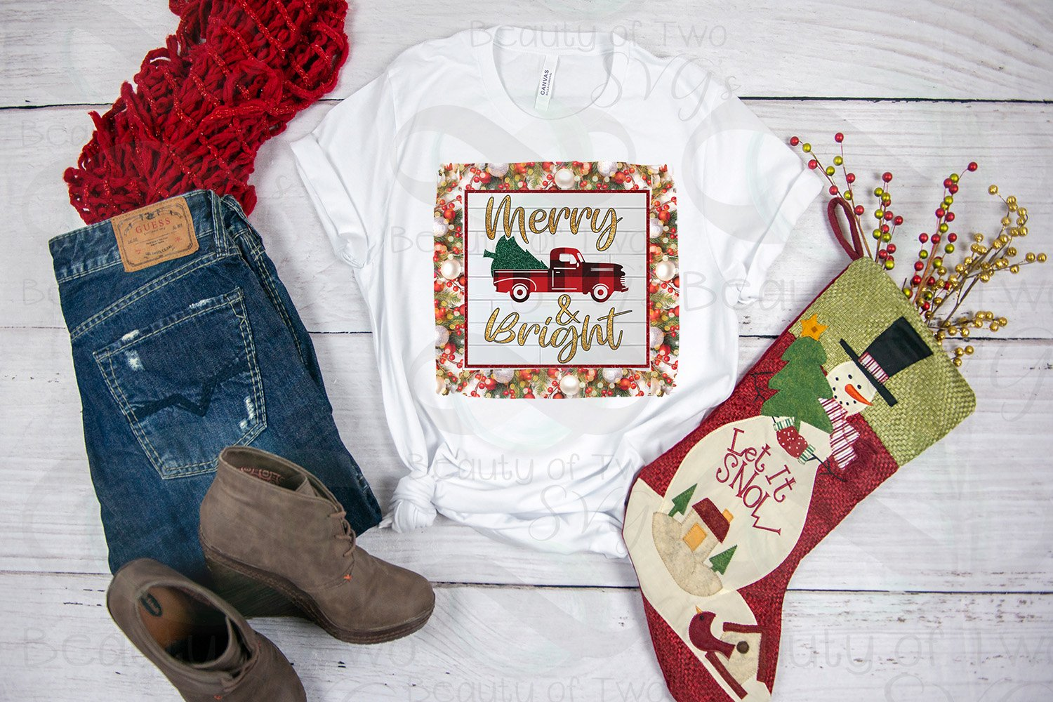 Christmas Vintage Red Truck Sublimation Design png 300 dpi example image 2