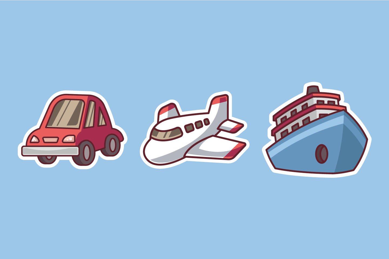 Travel Transportation Sticker illustrations example image 1