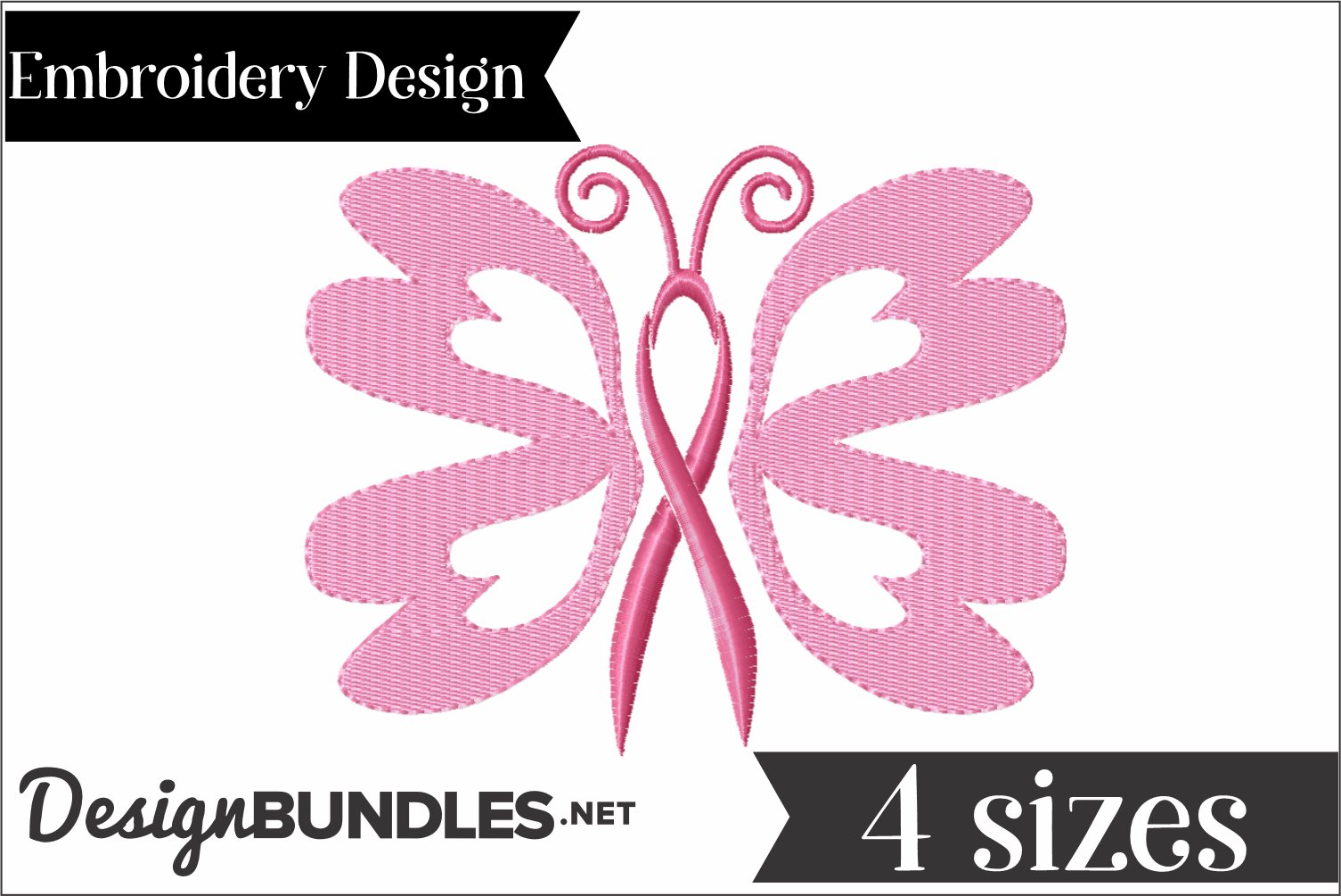 Butterfly Awareness Ribbon Embroidery Design example image 2