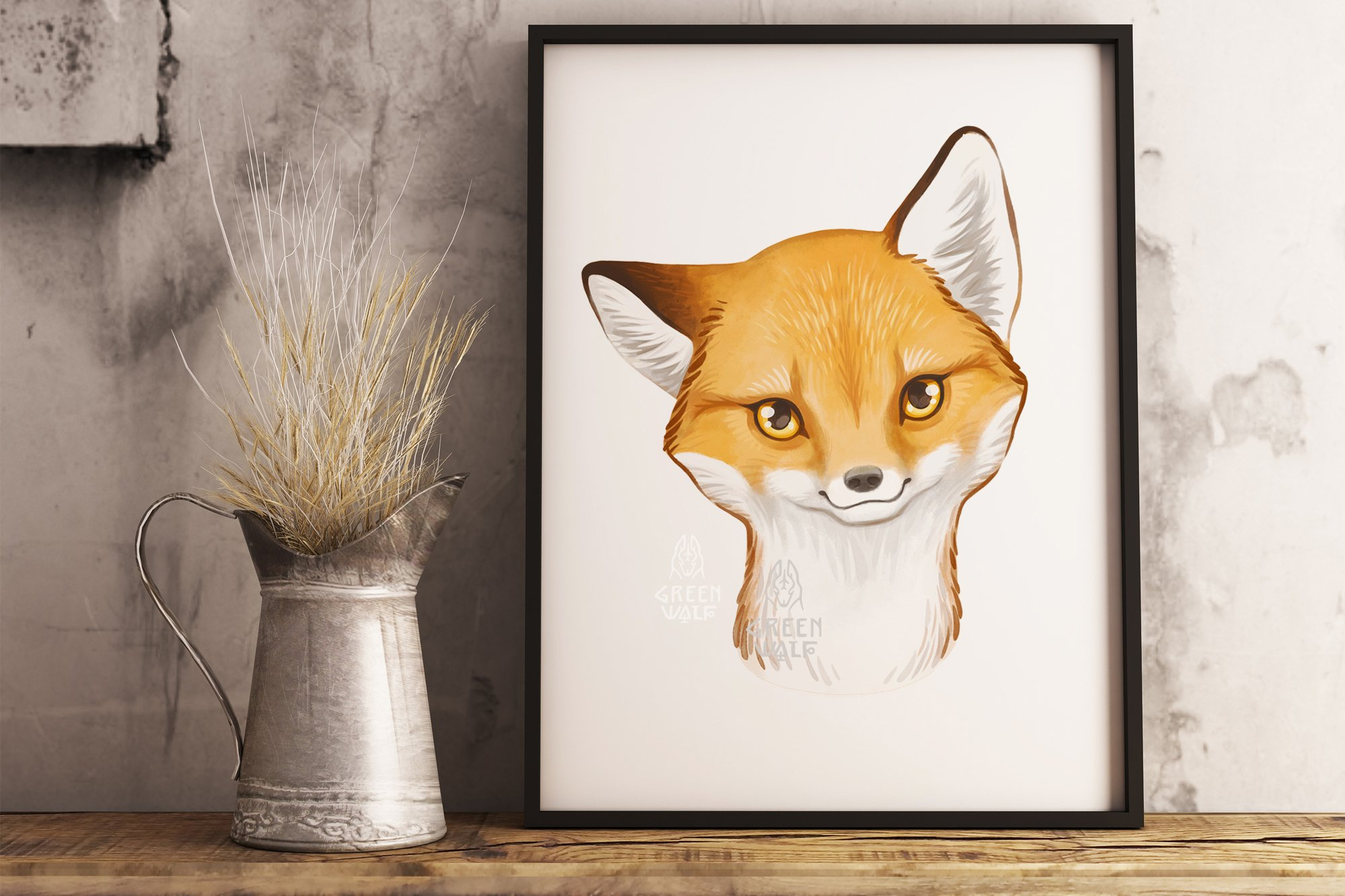 Baby fox drawing Watercolor art Forest animal clipart PNG example image 4