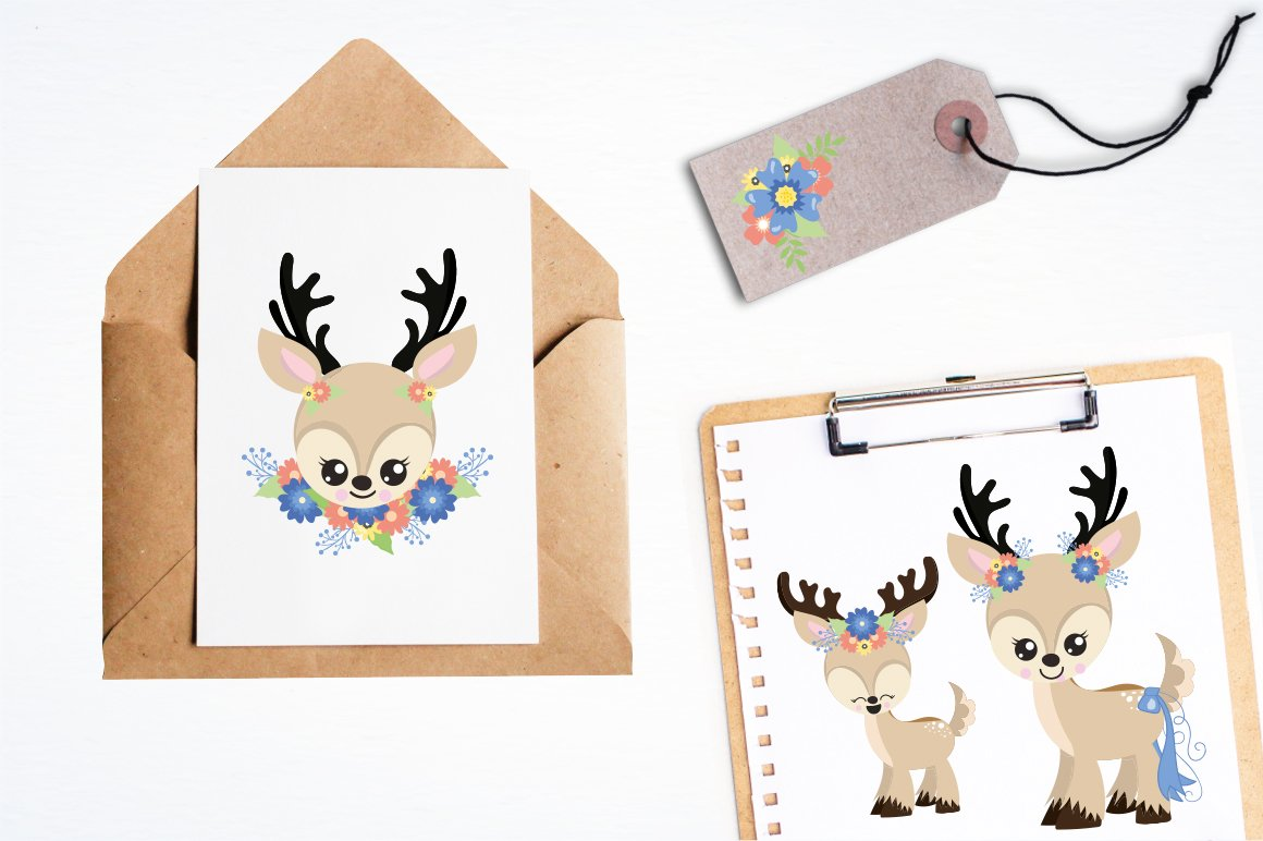 deer flowers antlers Graphics and illustrations, vector example image 4