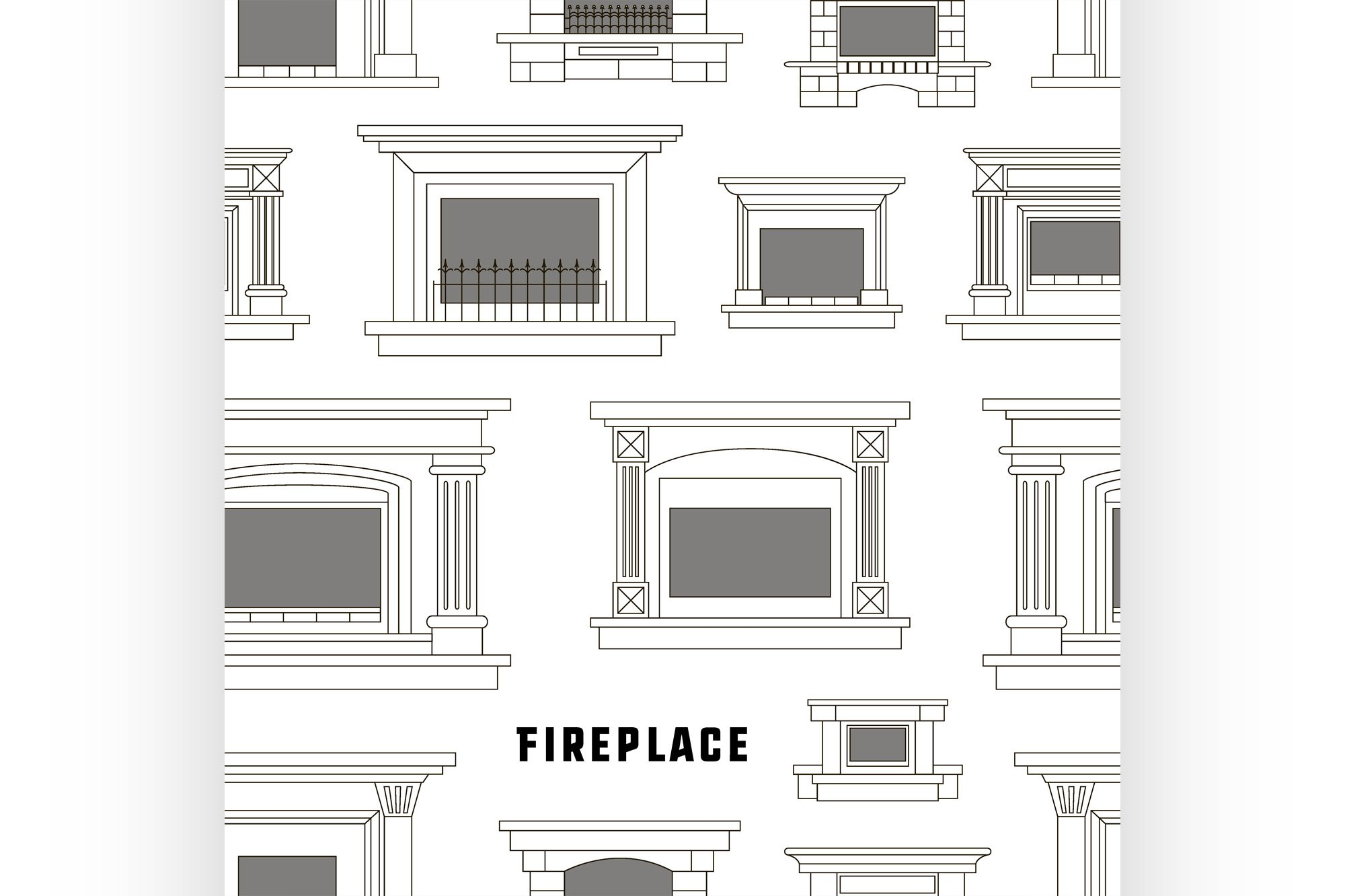 Set of vector fireplace icons design pattern example image 1