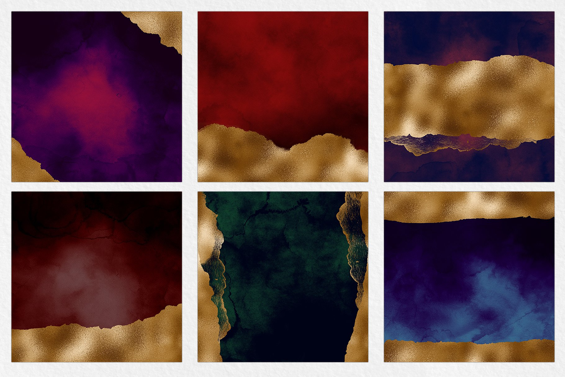 Dark & Gold Watercolor Texture Pack example image 5