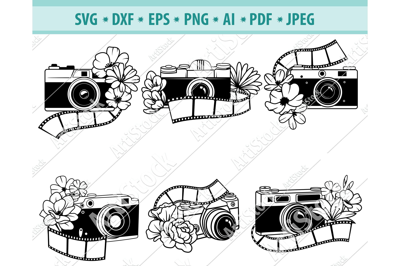 Camera svg paper craft svg camera cut file wall decal camera clipart wall stickers svg shirt camera stencil svg floral camera svg