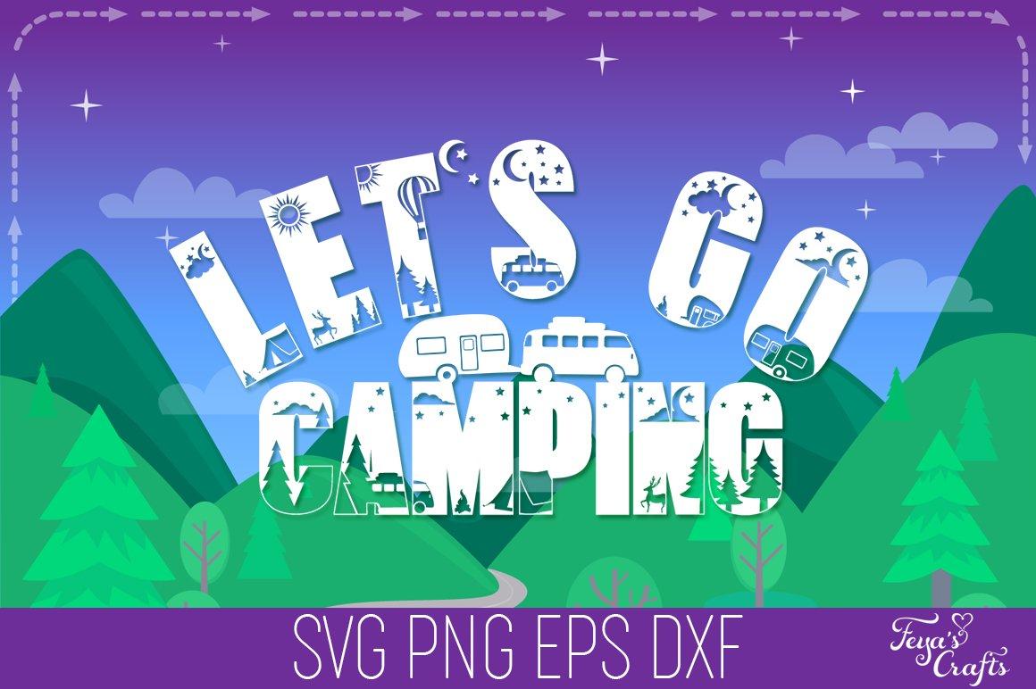 Camping SVG Alphabet, Camper SVG, Camping SVG Files Pack example image 1