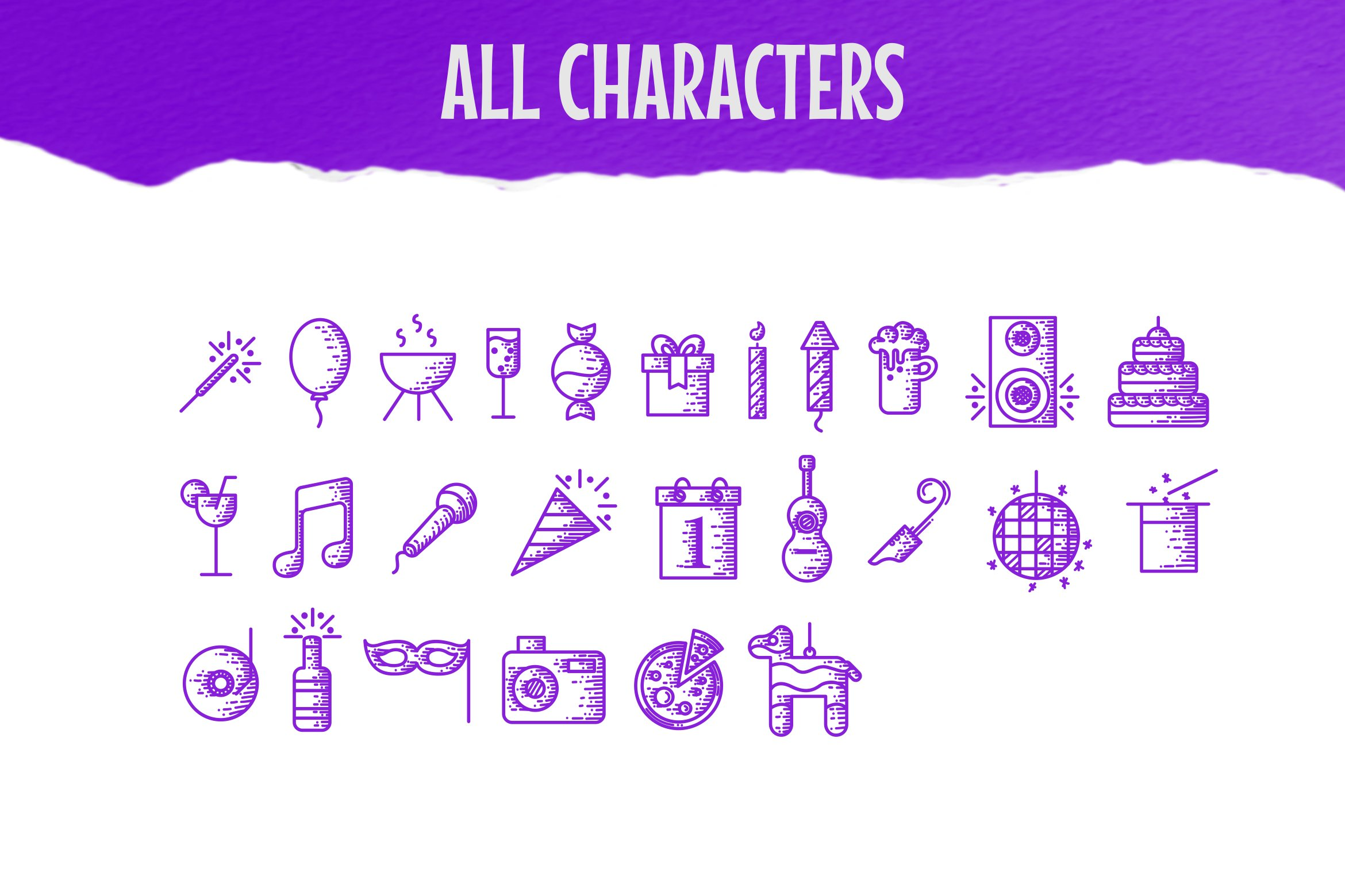 Party Dingbats Font example image 2