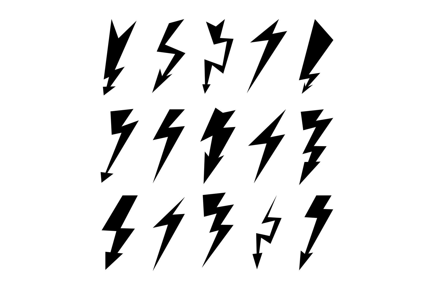 Lightning Icon Set. Electricity Thunder example image 1
