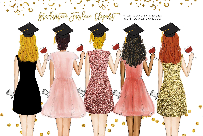 College Senior Graduation Girl Gold Fashion clipart example image 2