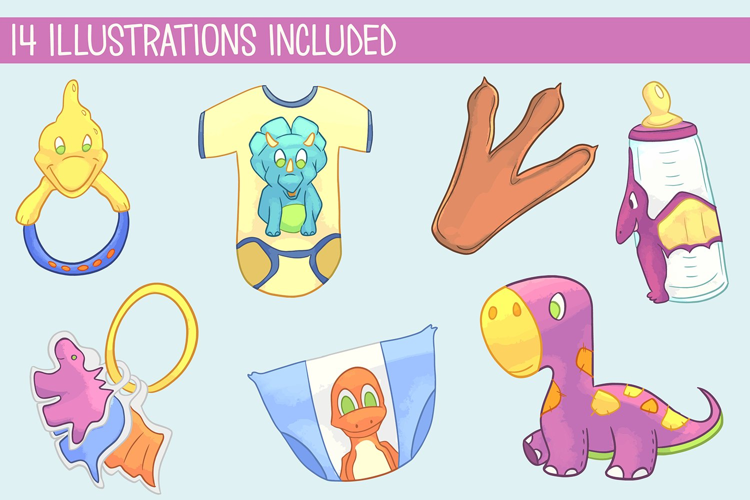 Little Dinosaurs Illustration Bundle example image 3