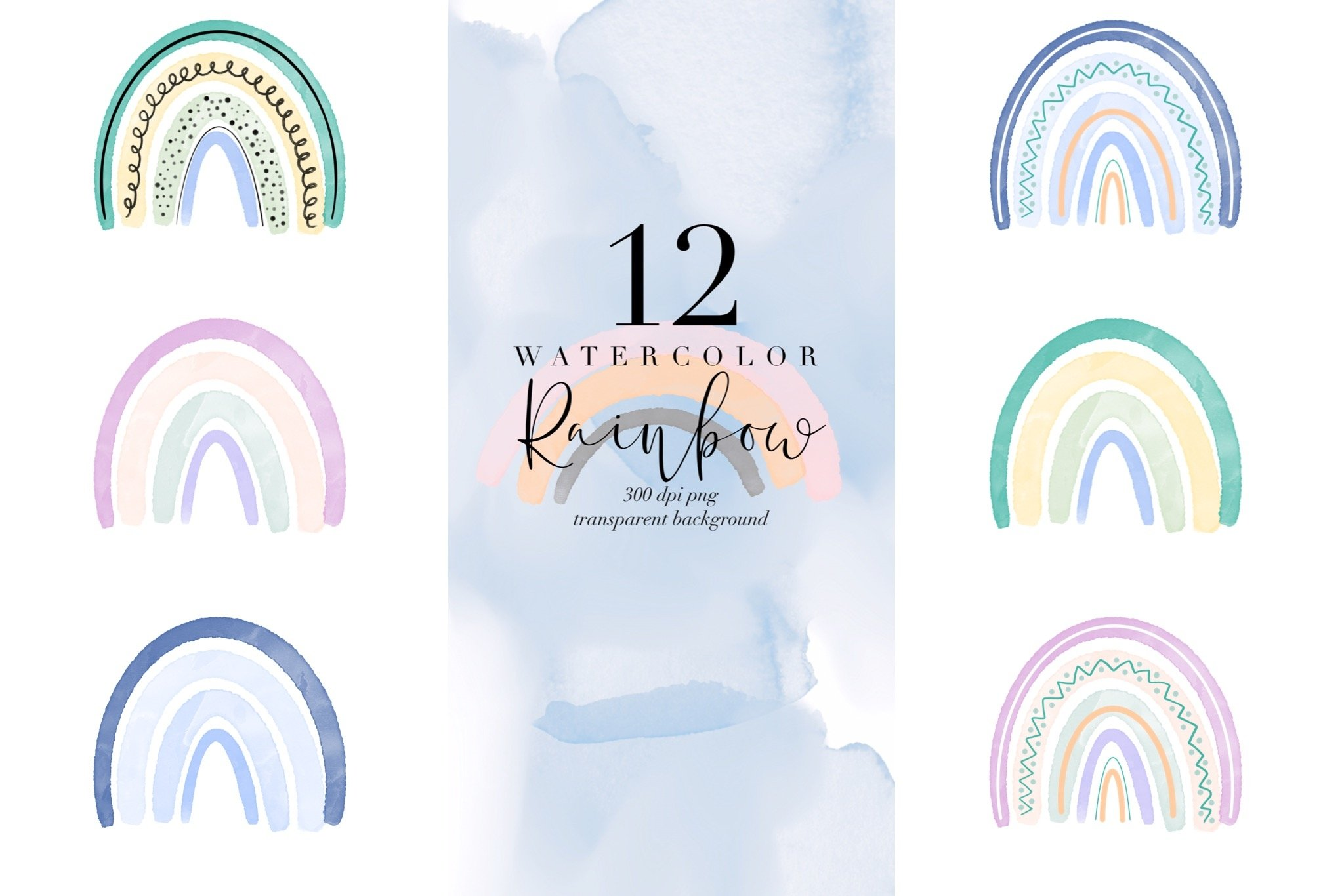 Bundle of 12 watercolor rainbow, rainbows abstract PNG color example image 2