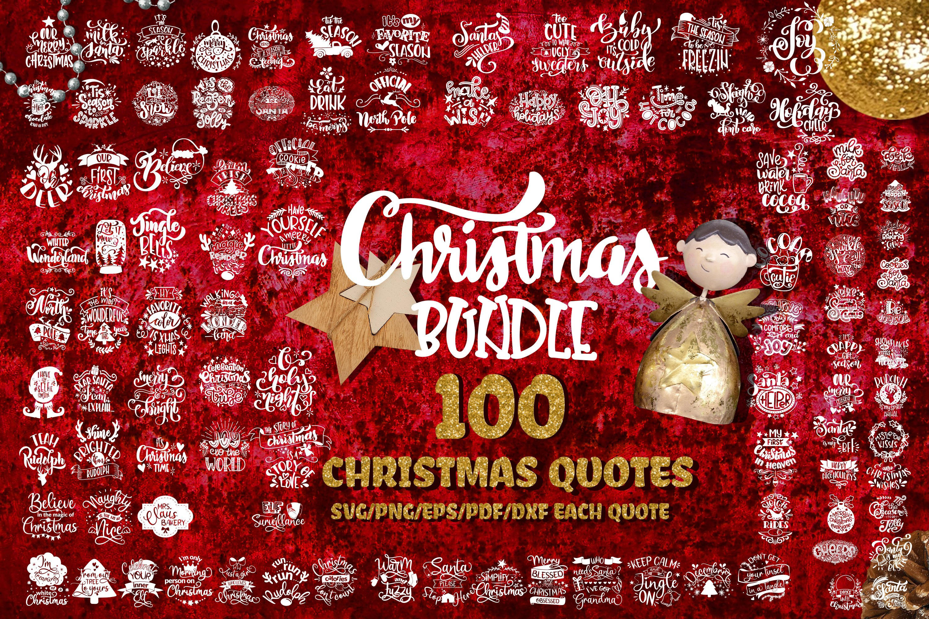 Christmas svg BUNDLE set of 100 quotes New Year
