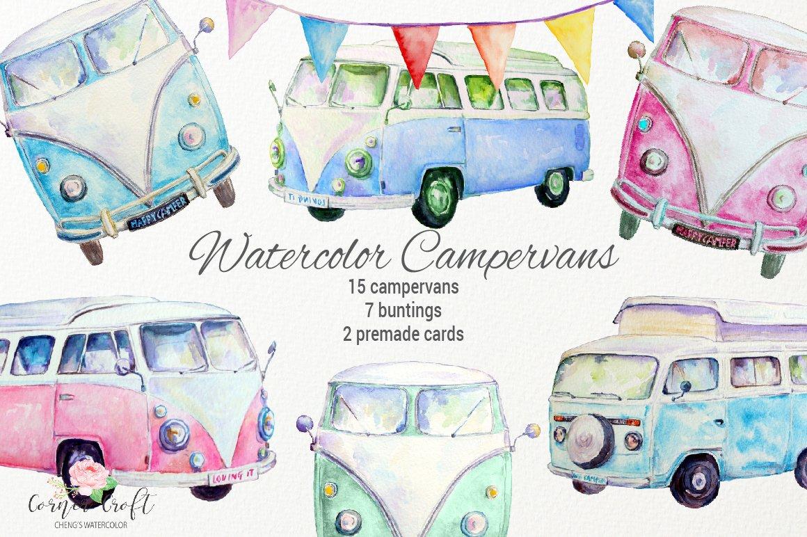 Download Watercolor Campervan Leisure Vehicles 49634 Illustrations Design Bundles