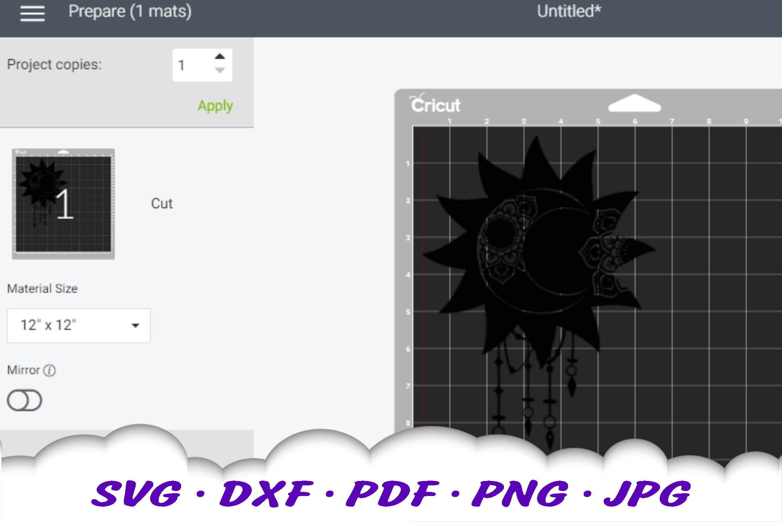 Celestial Dream Catcher Mandala SVG DXF Cut Files example image 2