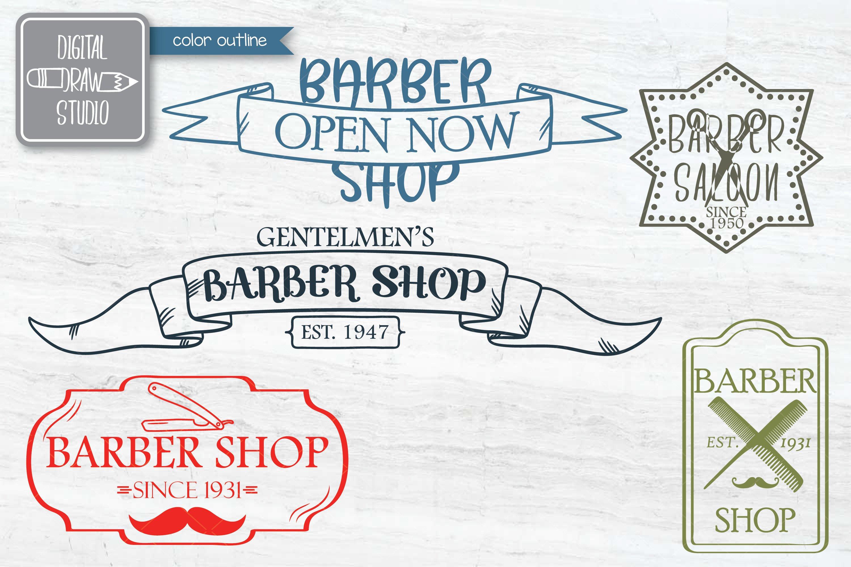 Hand Drawn Barber Shop Logo| Retro Hairdresser | Esp Svg Png example image 3