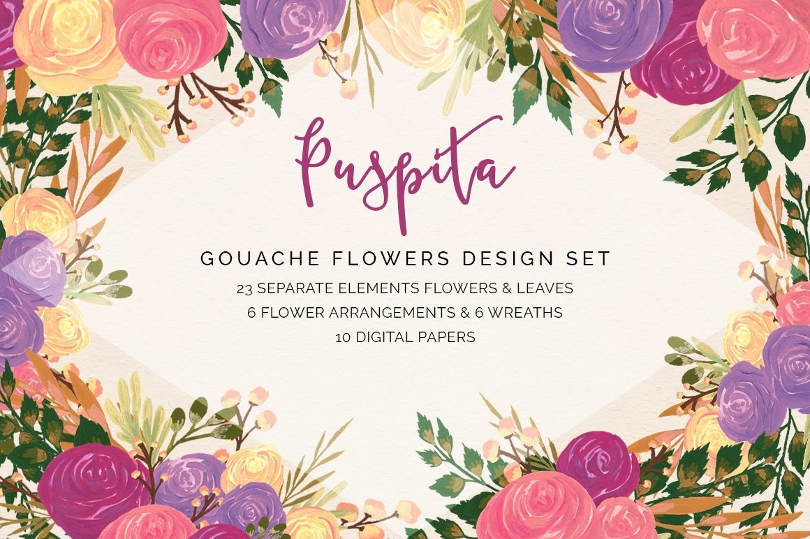 Puspita Gouache Flowers Design Set example image 1