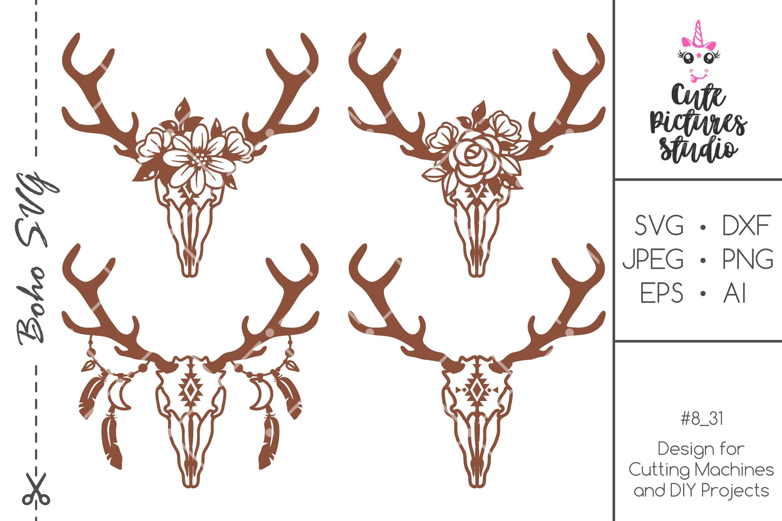 Set Deer Skull Svg Dxf Floral Deer Antlers Svg Floral Skull 514176 Svgs Design Bundles