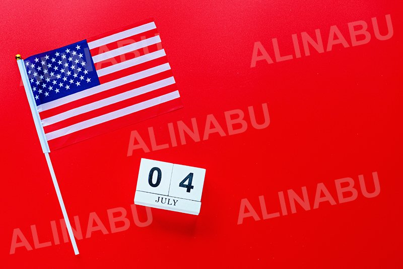 July 4th. USA flag and calendar on red background example image 1