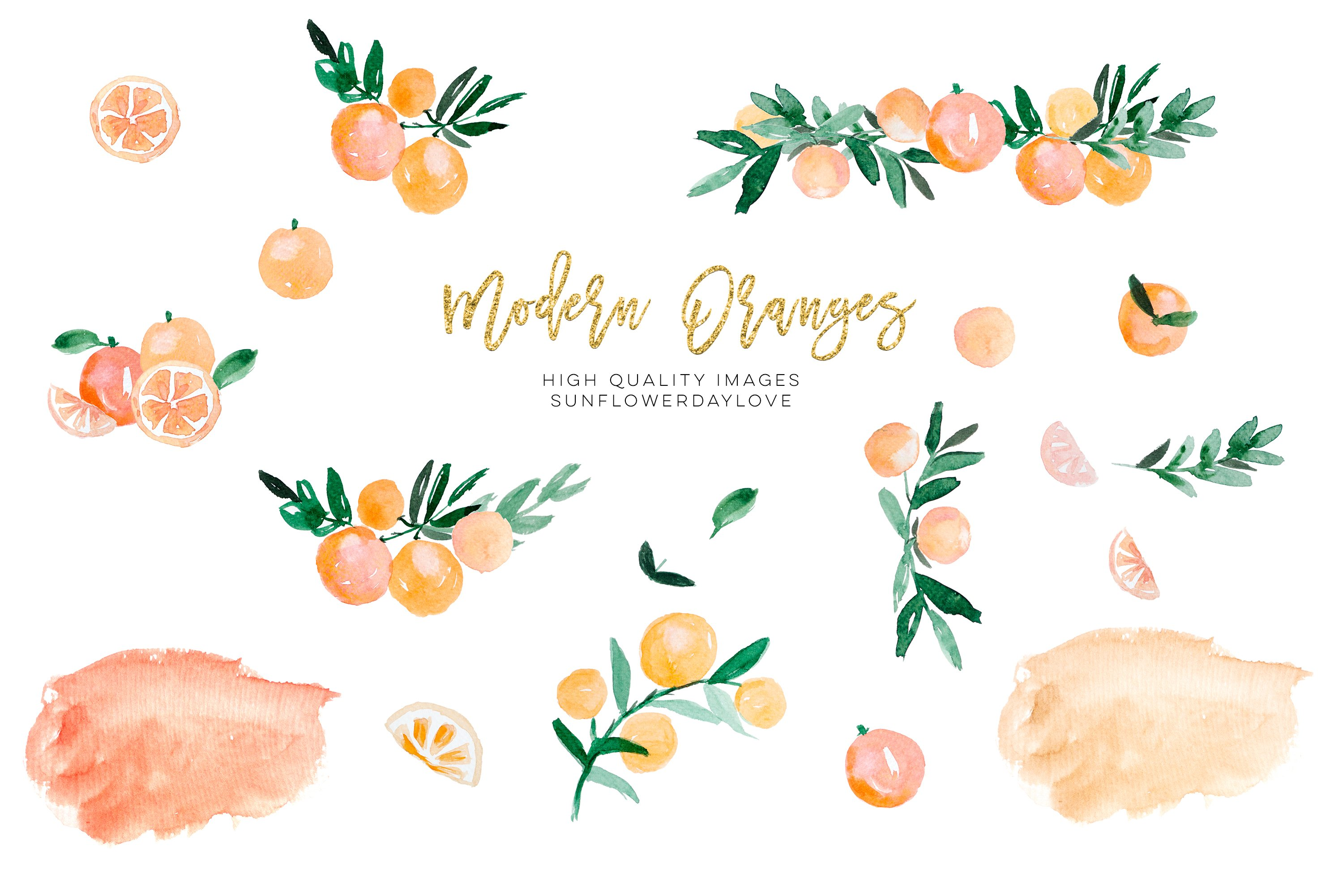 Orange Citrus Watercolor Clipart, Bitter Orange Wall Art example image 2
