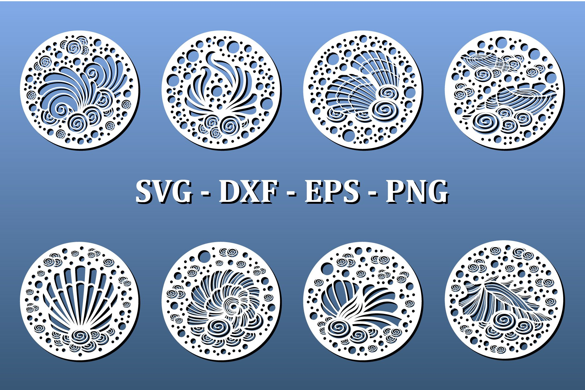 Laser cut coasters with nautical pattern. Cnc cut files example image 2