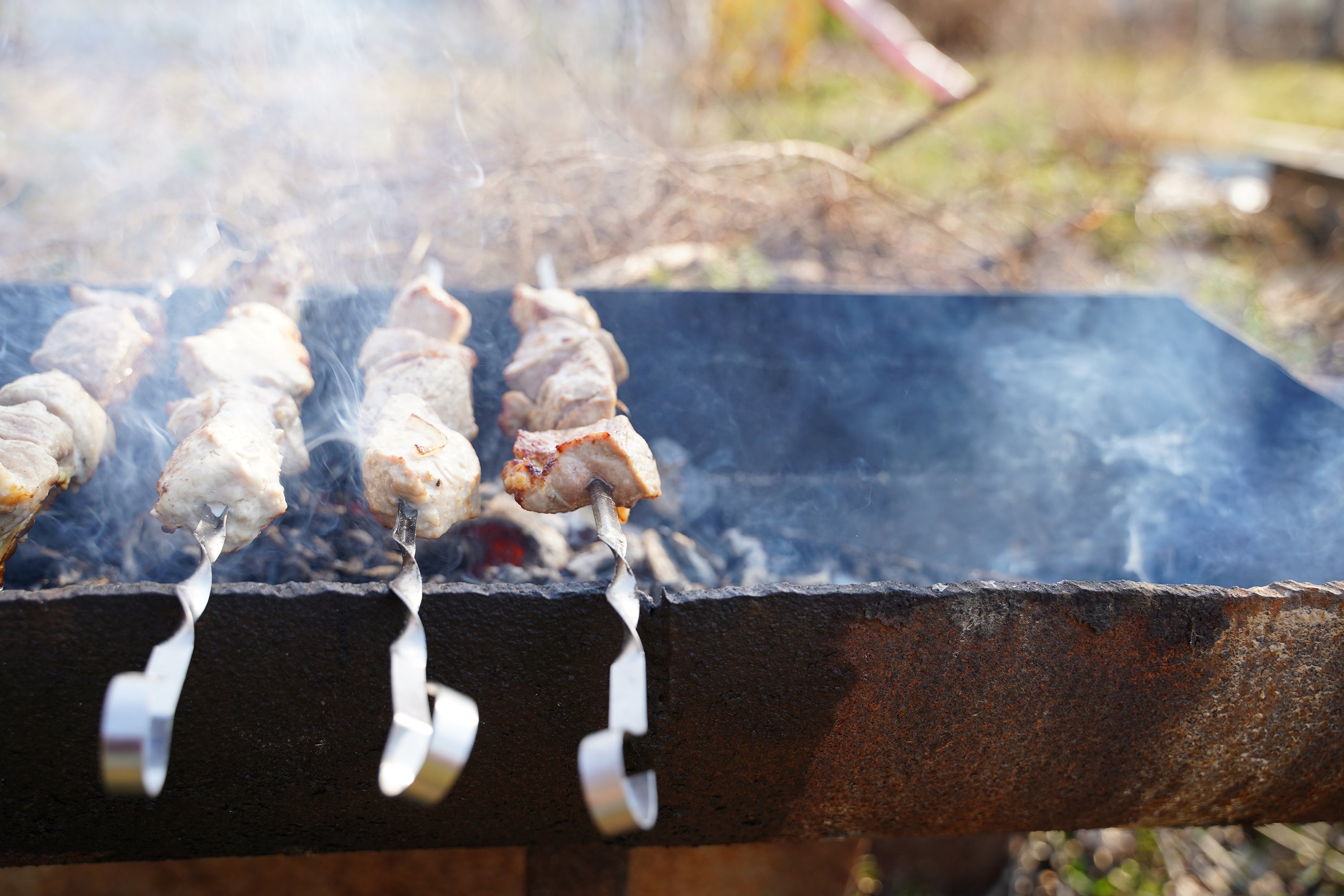 BBQ pork, beef meat, fried in barbecue. Grill on skewers example image 1