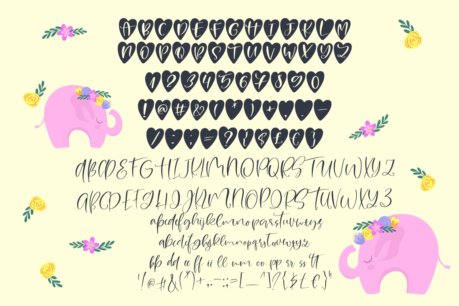 Pink Elephant. Cute font duo example image 5