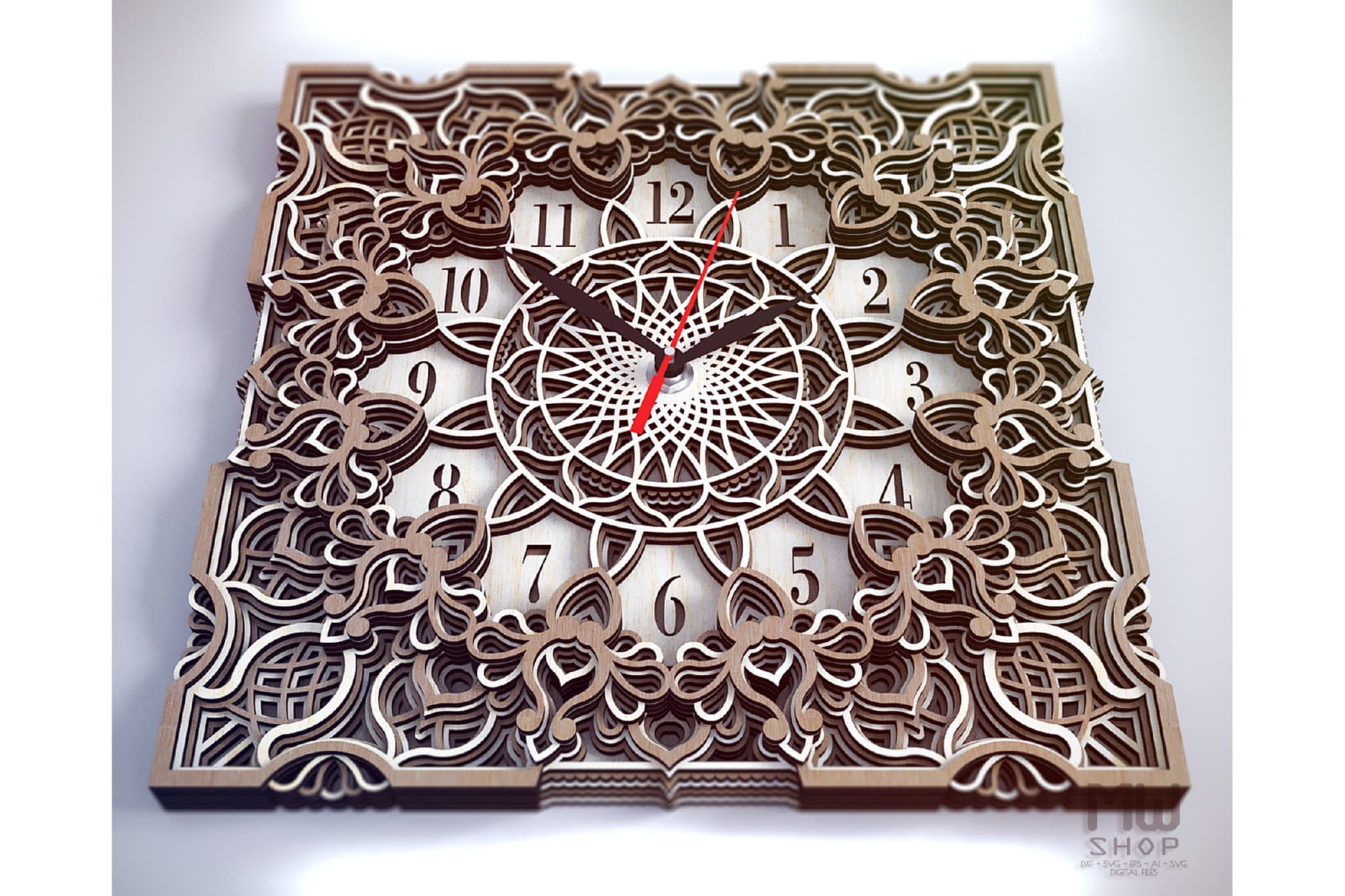 C13 - Mandala Clock DXF for Laser cut, Sacred Clock SVG example image 5