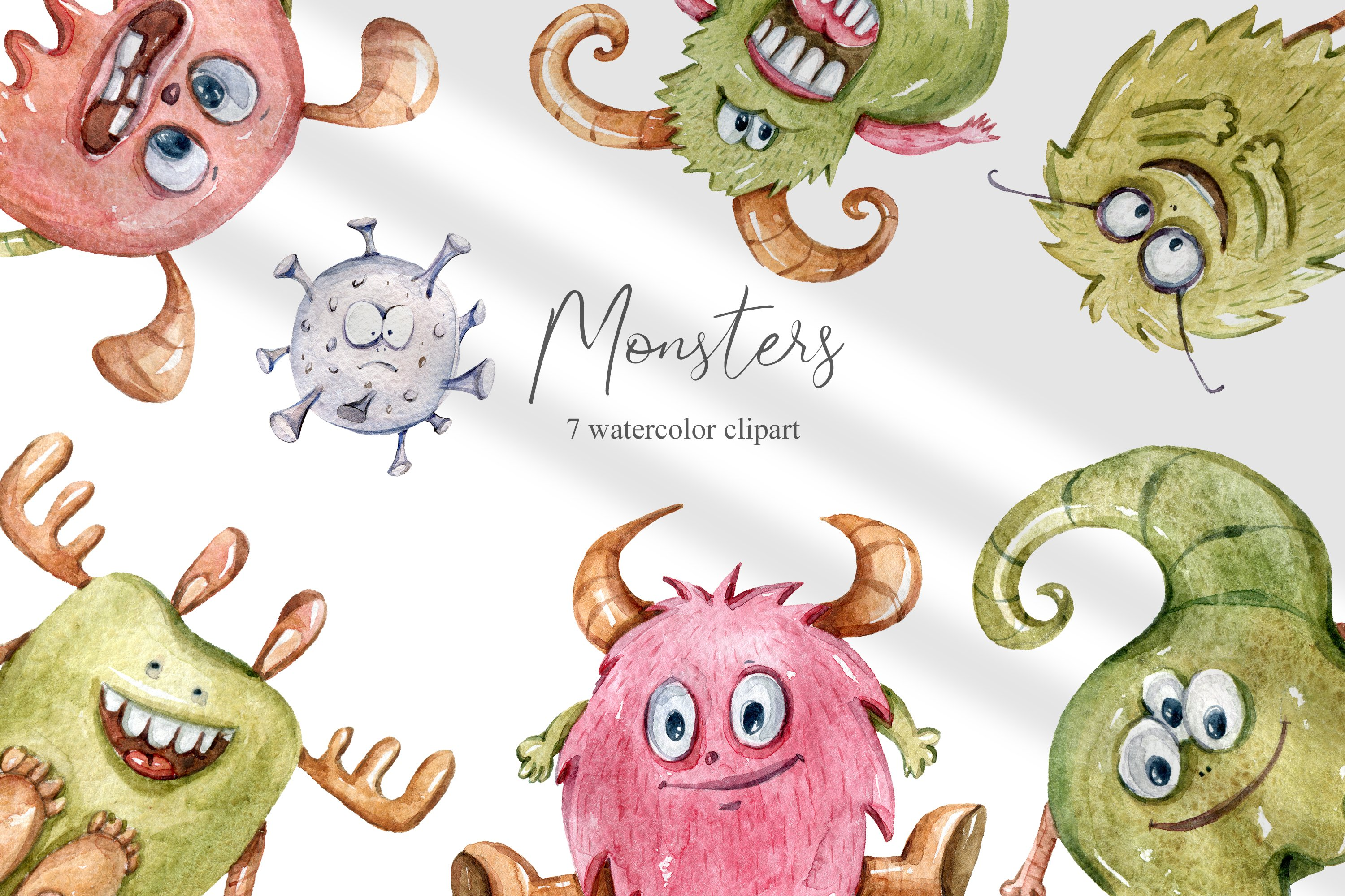 Watercolor monster clipart. Bacteria collection example image 1