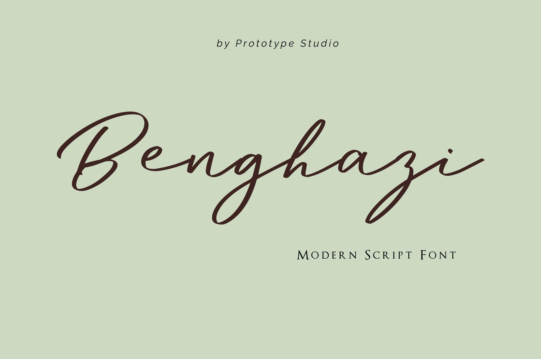 Benghazi Modern Script Font example image 1