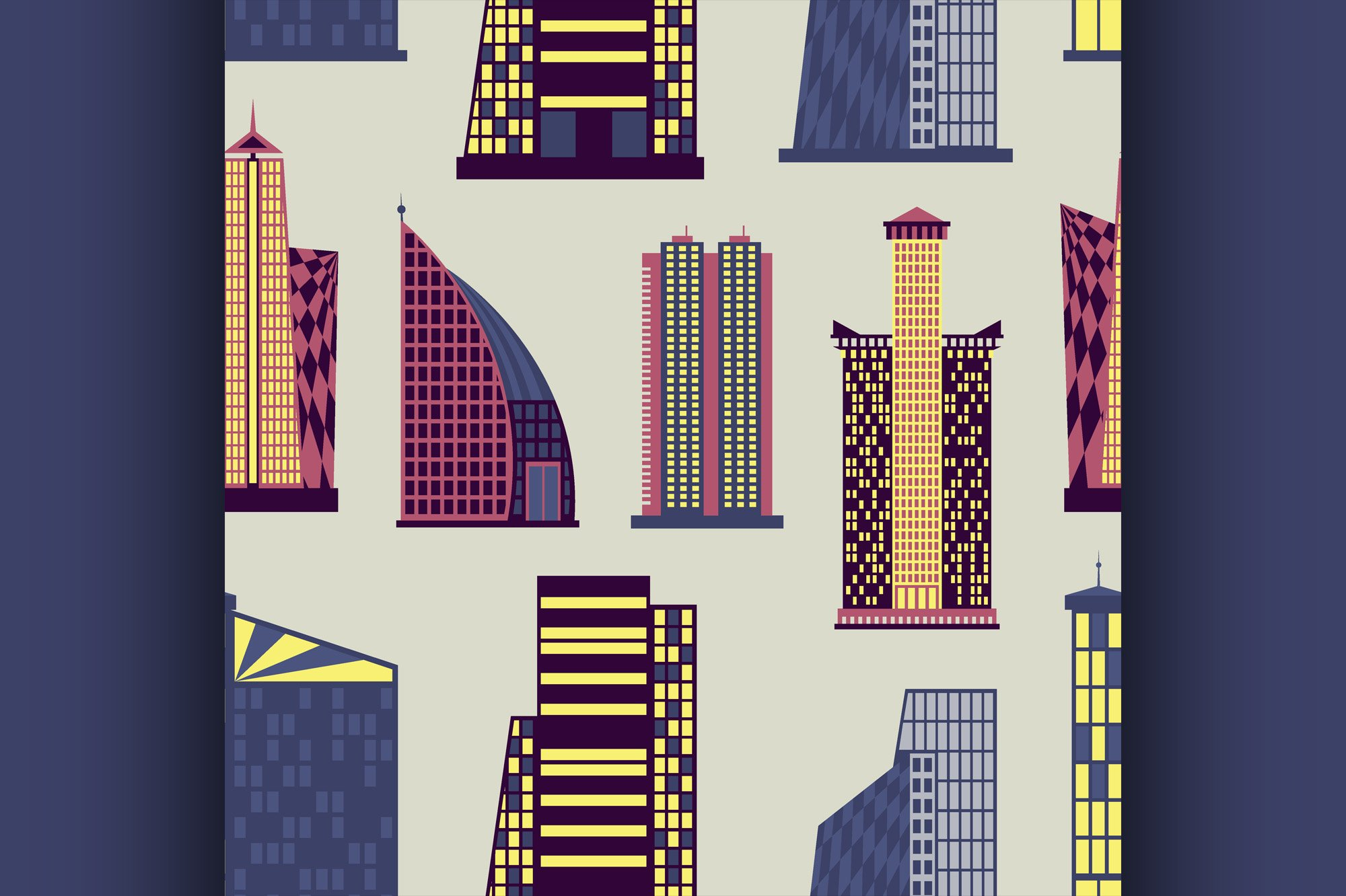 Skyscrapers set pattern example image 1