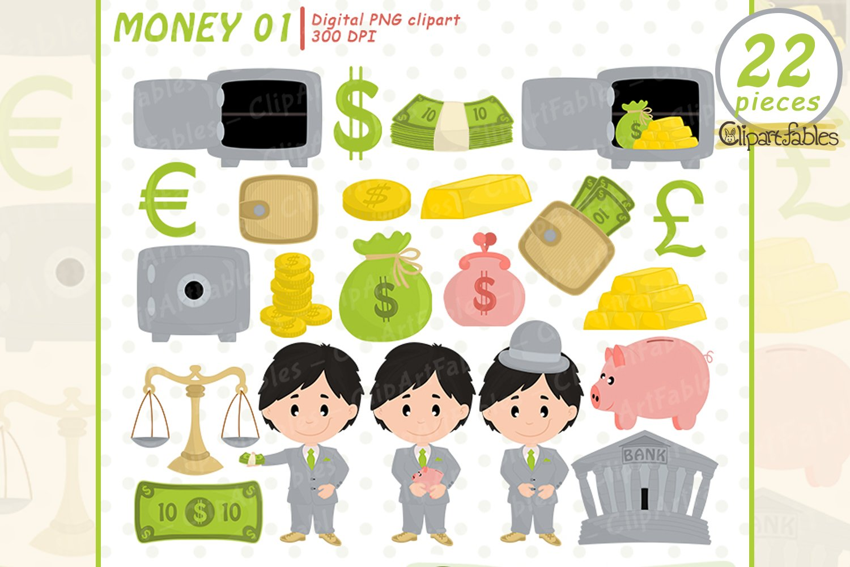 MONEY clipart, Cute piggy bank design, Banker caracters example image 1